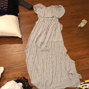 Alice and Olivia navy and white stripe maxi dress